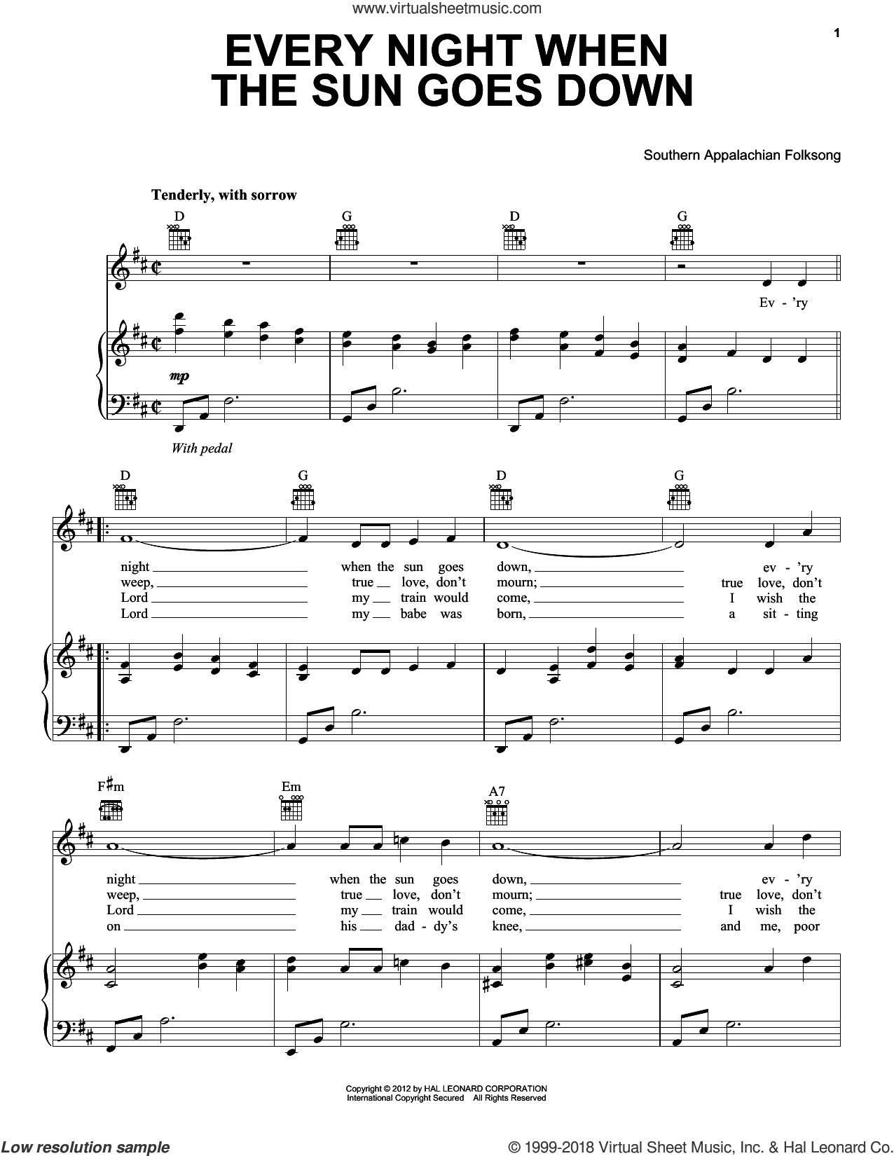 Every Night When Sun Goes Down sheet music for voice, piano or guitar, intermediate. Score Image Preview.
