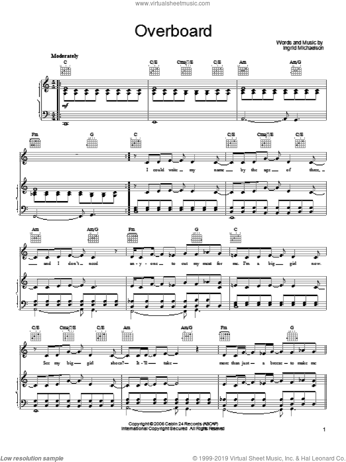 Overboard sheet music for voice, piano or guitar by Ingrid Michaelson, intermediate. Score Image Preview.