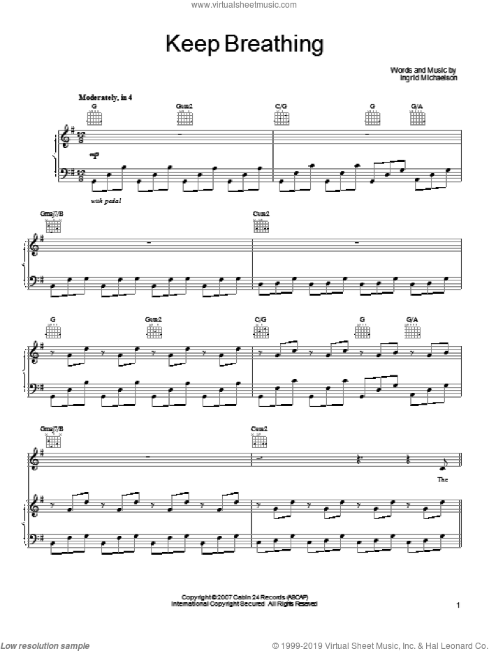 Keep Breathing sheet music for voice, piano or guitar by Ingrid Michaelson, intermediate voice, piano or guitar. Score Image Preview.