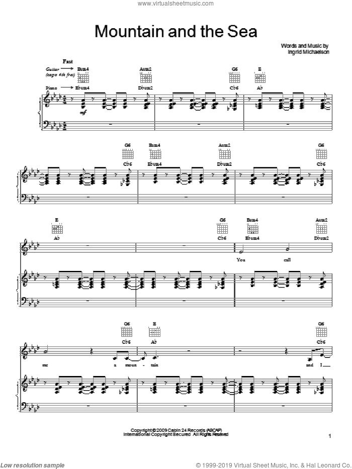 Mountain And The Sea sheet music for voice, piano or guitar by Ingrid Michaelson, intermediate skill level