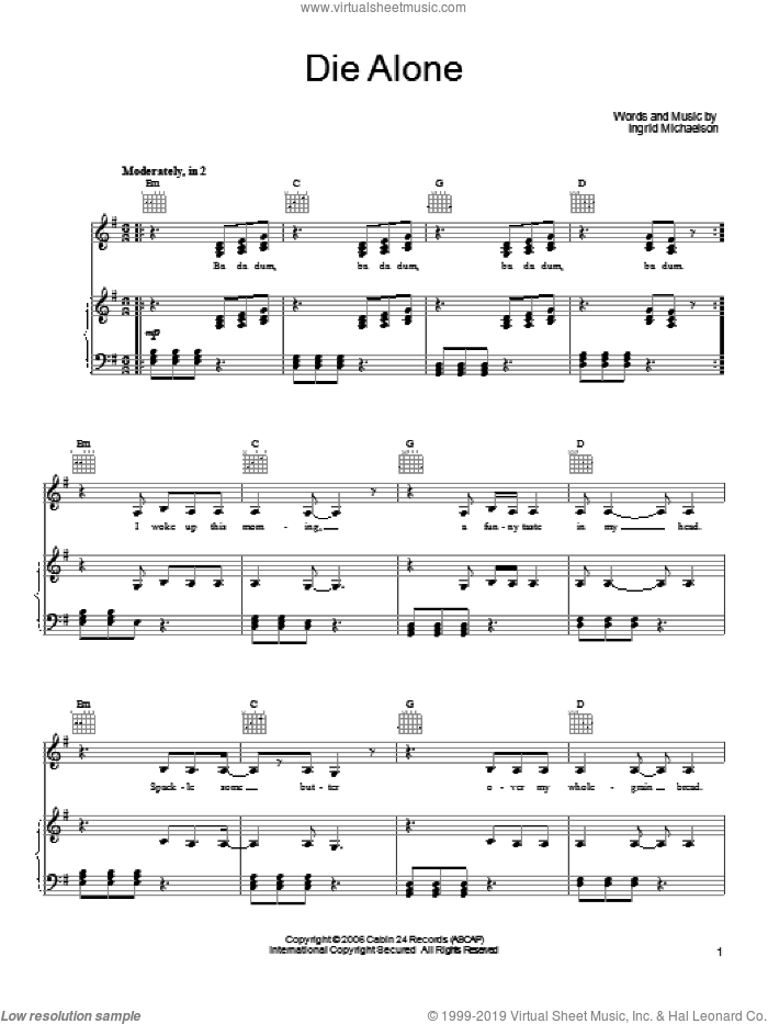 Die Alone sheet music for voice, piano or guitar by Ingrid Michaelson, intermediate voice, piano or guitar. Score Image Preview.
