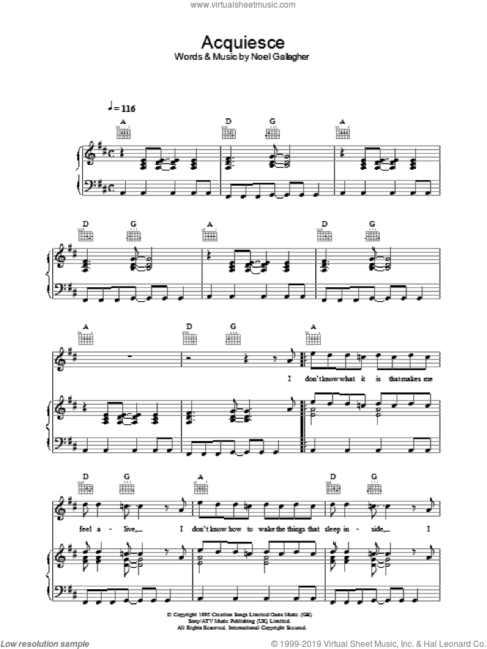 Acquiesce sheet music for voice, piano or guitar by Oasis and Noel Gallagher, intermediate skill level