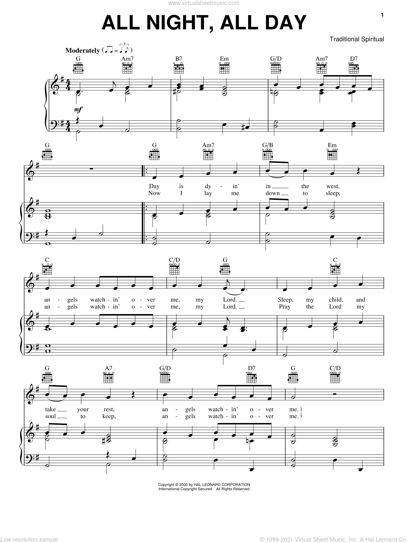 All Night, All Day sheet music for voice, piano or guitar, intermediate skill level