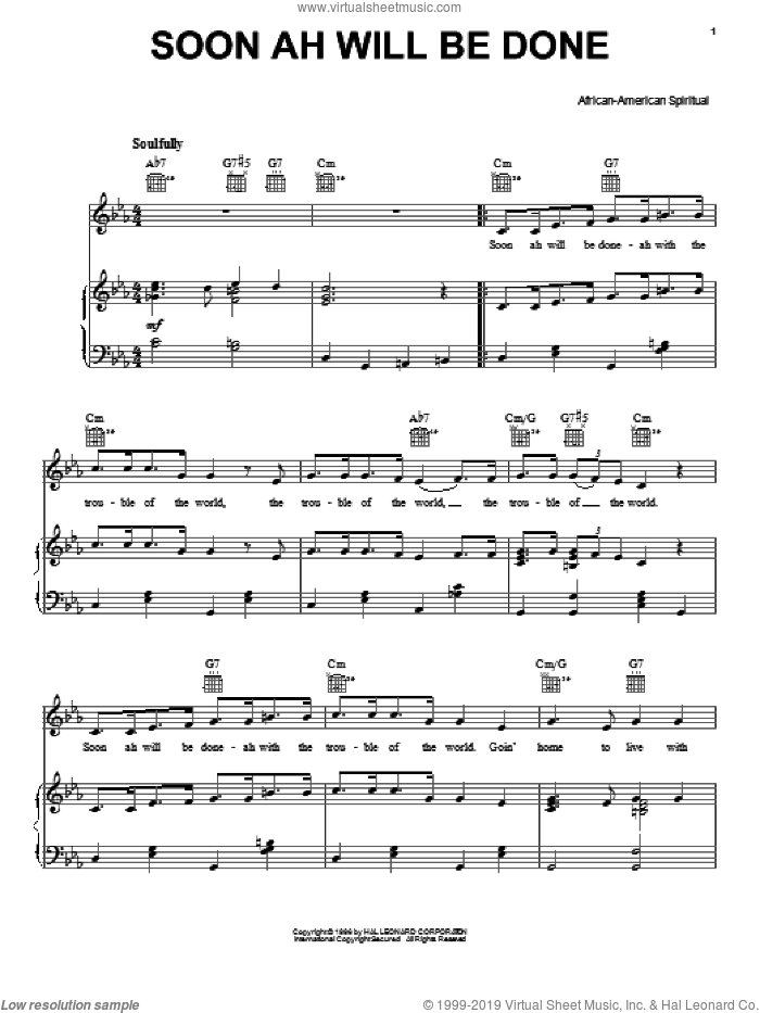 Soon Ah Will Be Done sheet music for voice, piano or guitar. Score Image Preview.