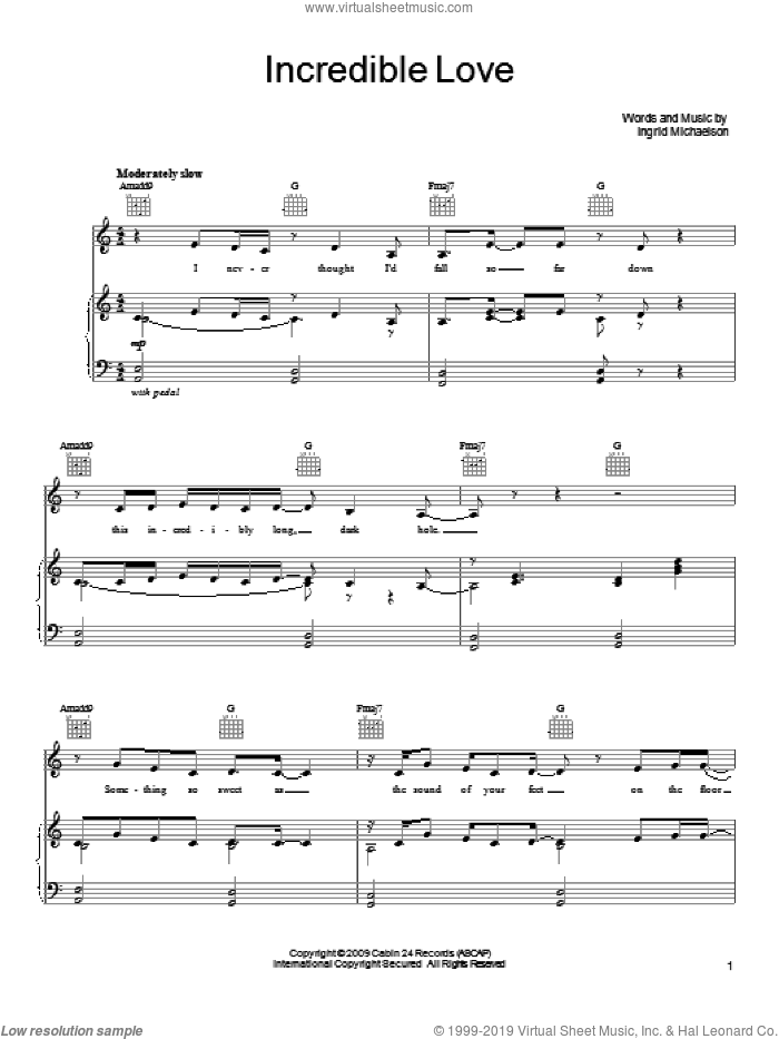 Incredible Love sheet music for voice, piano or guitar by Ingrid Michaelson, intermediate skill level