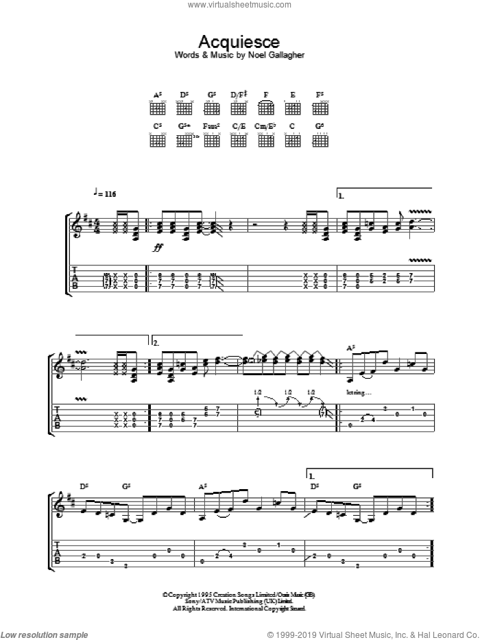 Acquiesce sheet music for guitar (tablature) by Noel Gallagher and Oasis. Score Image Preview.