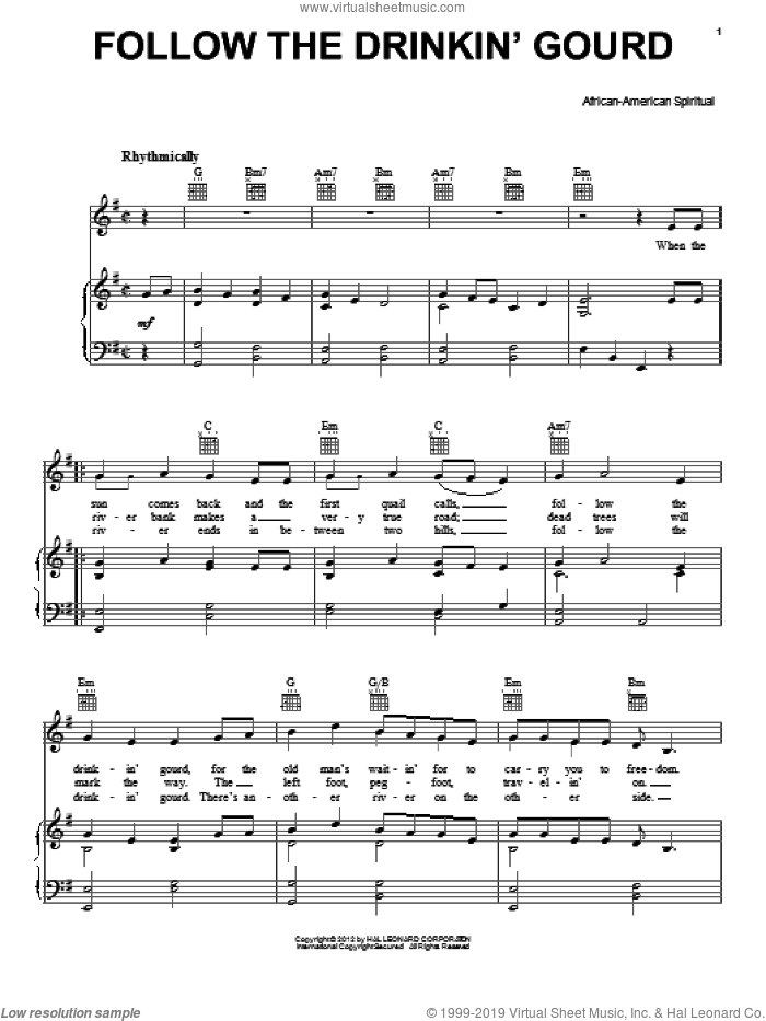 Follow The Drinkin' Gourd sheet music for voice, piano or guitar. Score Image Preview.