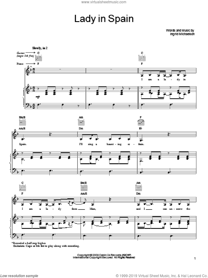 Lady In Spain sheet music for voice, piano or guitar by Ingrid Michaelson, intermediate. Score Image Preview.