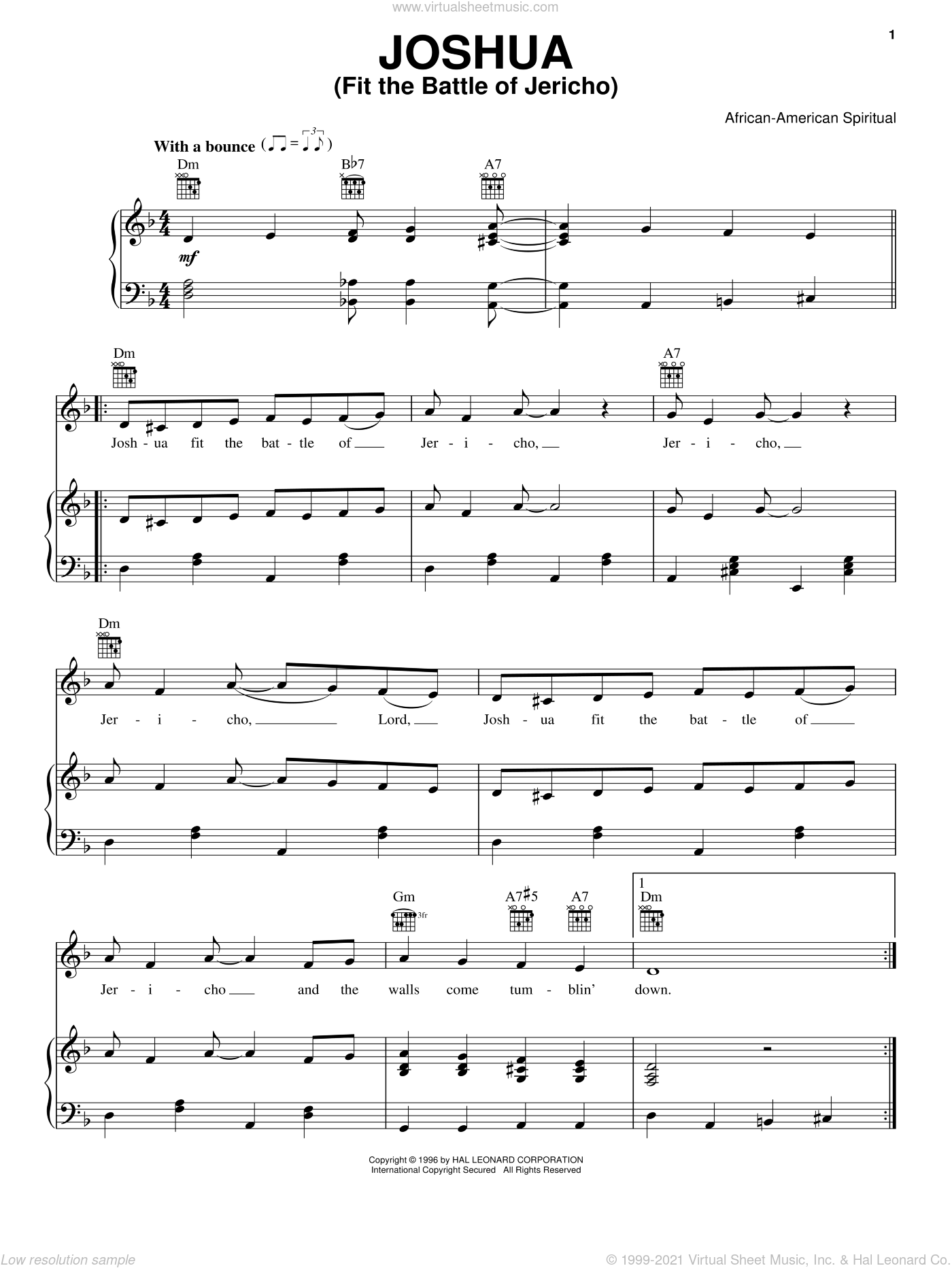 Joshua (Fit The Battle Of Jericho) sheet music for voice, piano or guitar, intermediate voice, piano or guitar. Score Image Preview.