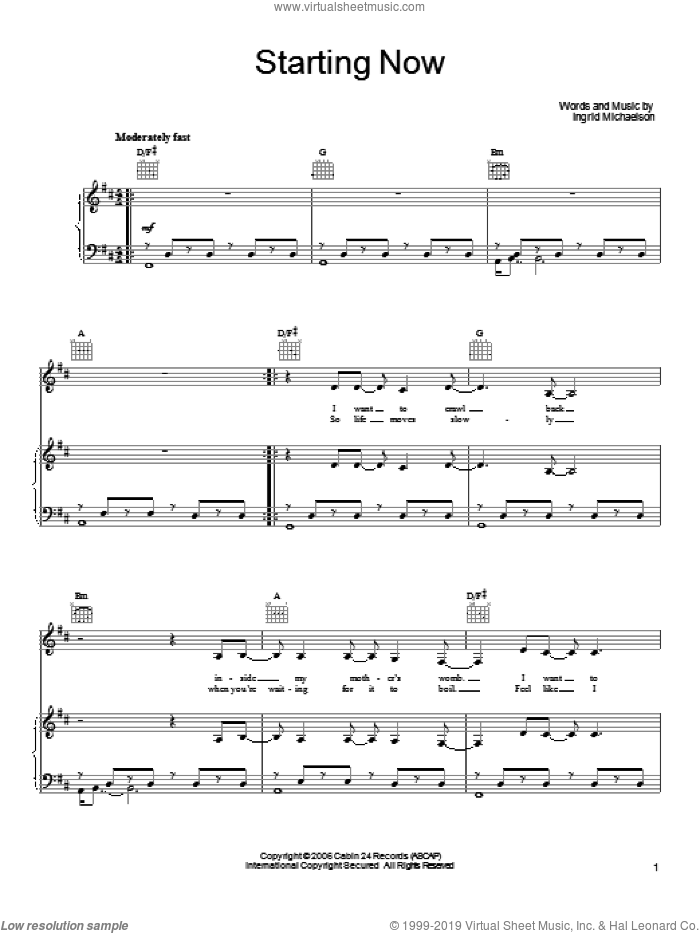Starting Now sheet music for voice, piano or guitar by Ingrid Michaelson