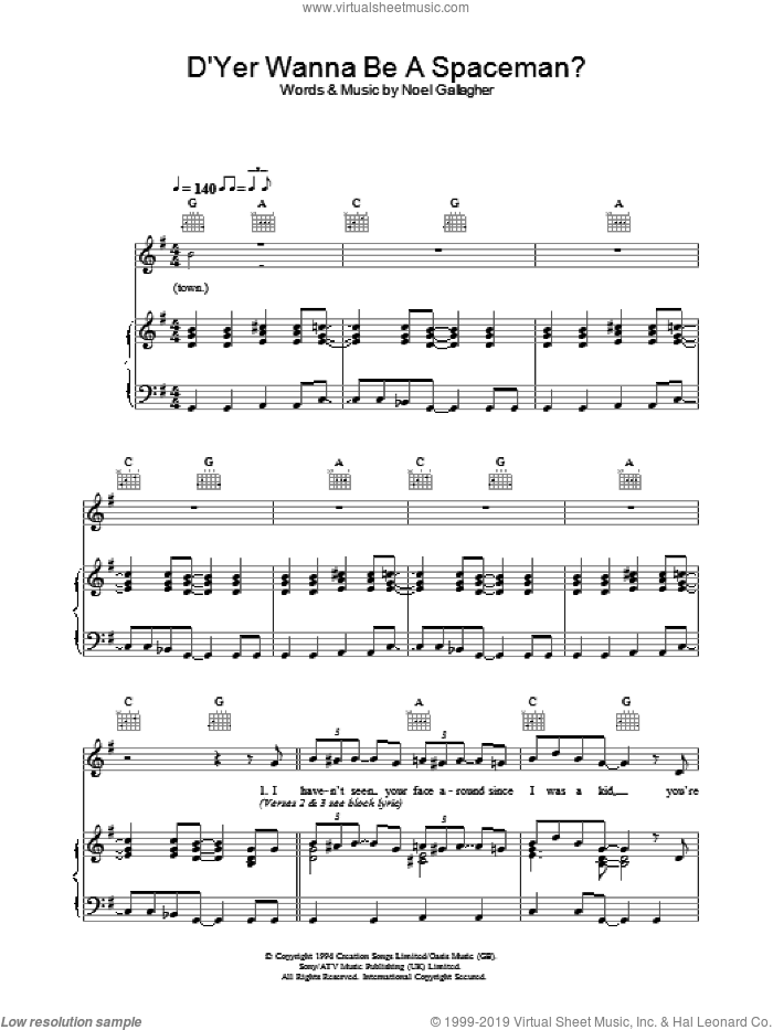 D'Yer Wanna Be A Spaceman? sheet music for voice, piano or guitar by Oasis and Noel Gallagher, intermediate skill level