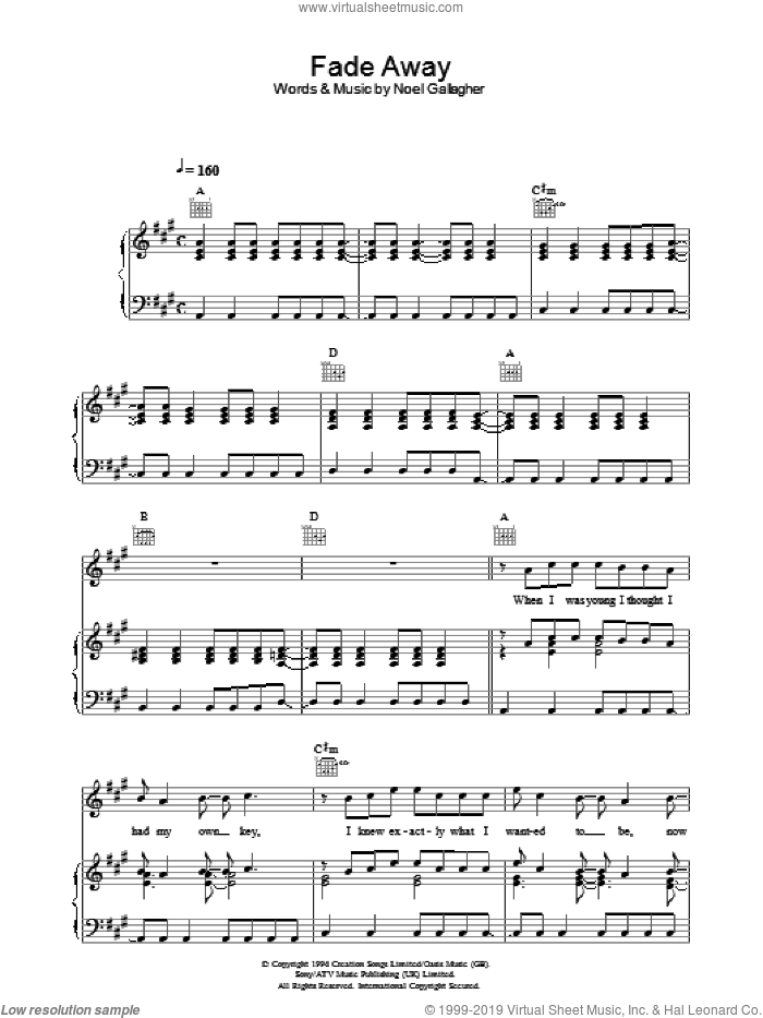 Fade Away sheet music for voice, piano or guitar by Noel Gallagher and Oasis. Score Image Preview.