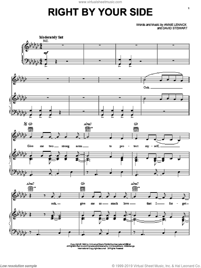 Right By Your Side sheet music for voice, piano or guitar by Dave Stewart, Eurythmics and Annie Lennox. Score Image Preview.