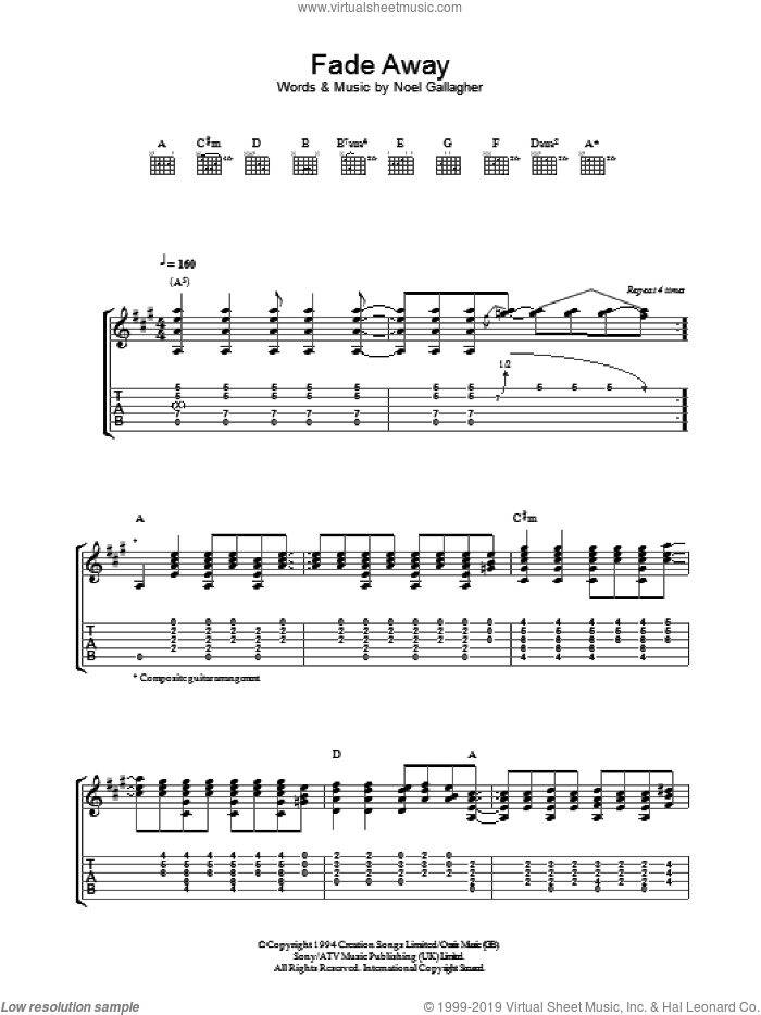 Fade Away sheet music for guitar (tablature) by Oasis and Noel Gallagher, intermediate. Score Image Preview.