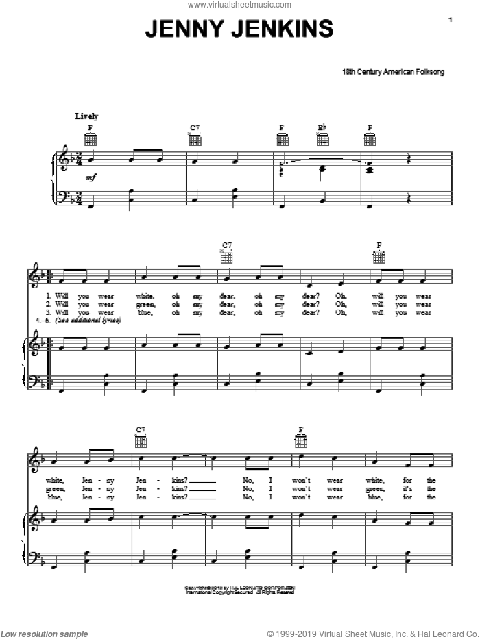 Jenny Jenkins sheet music for voice, piano or guitar. Score Image Preview.