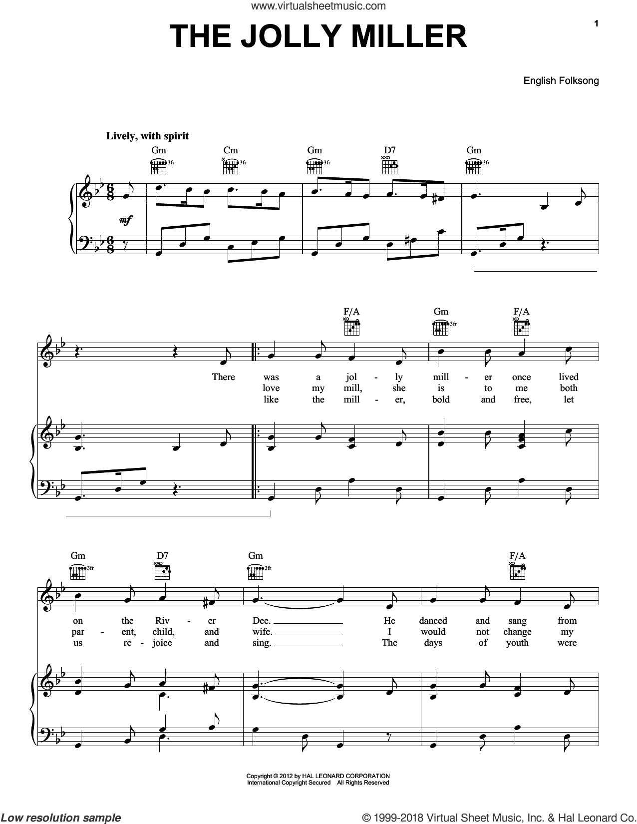 Jolly Miller sheet music for voice, piano or guitar, intermediate skill level