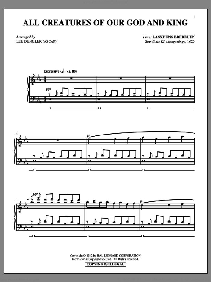 All Creatures Of Our God And King sheet music for piano solo by William Henry Draper, Lee Dengler and Geistliche Kirchengesang. Score Image Preview.