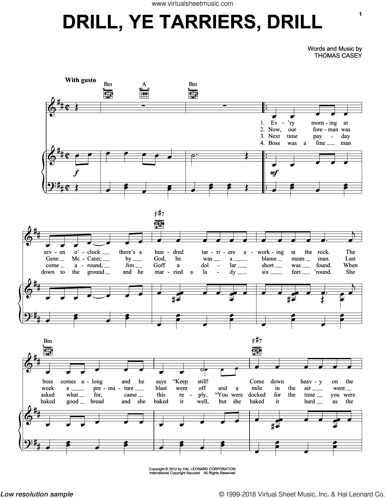 Drill Ye Tarriers sheet music for voice, piano or guitar by Thomas Casey, intermediate voice, piano or guitar. Score Image Preview.