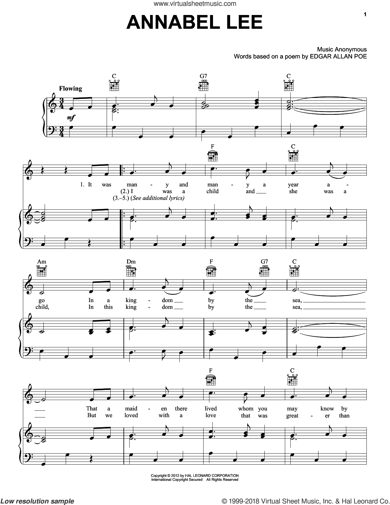 Annabel Lee sheet music for voice, piano or guitar. Score Image Preview.
