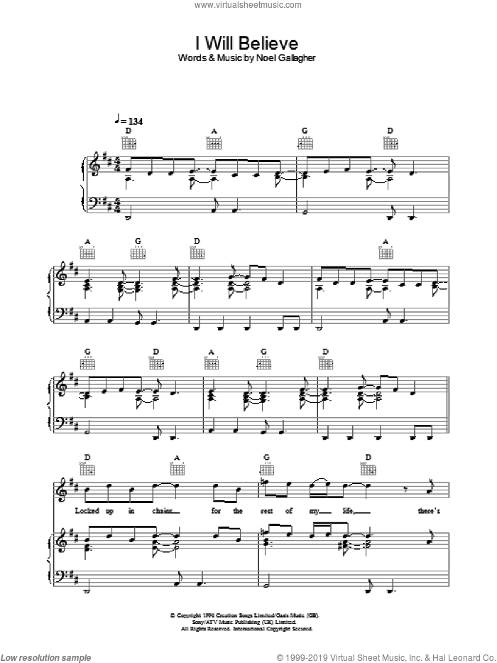 I Will Believe sheet music for voice, piano or guitar by Oasis and Noel Gallagher, intermediate. Score Image Preview.