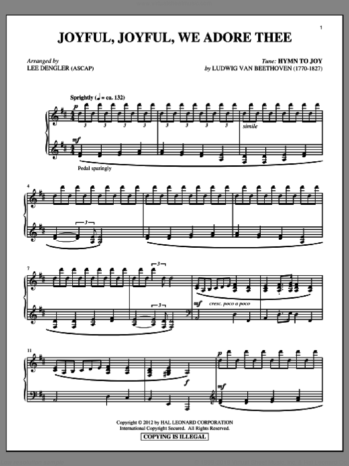 Joyful, Joyful, We Adore Thee sheet music for piano solo by Henry van Dyke, Lee Dengler and Ludwig van Beethoven. Score Image Preview.