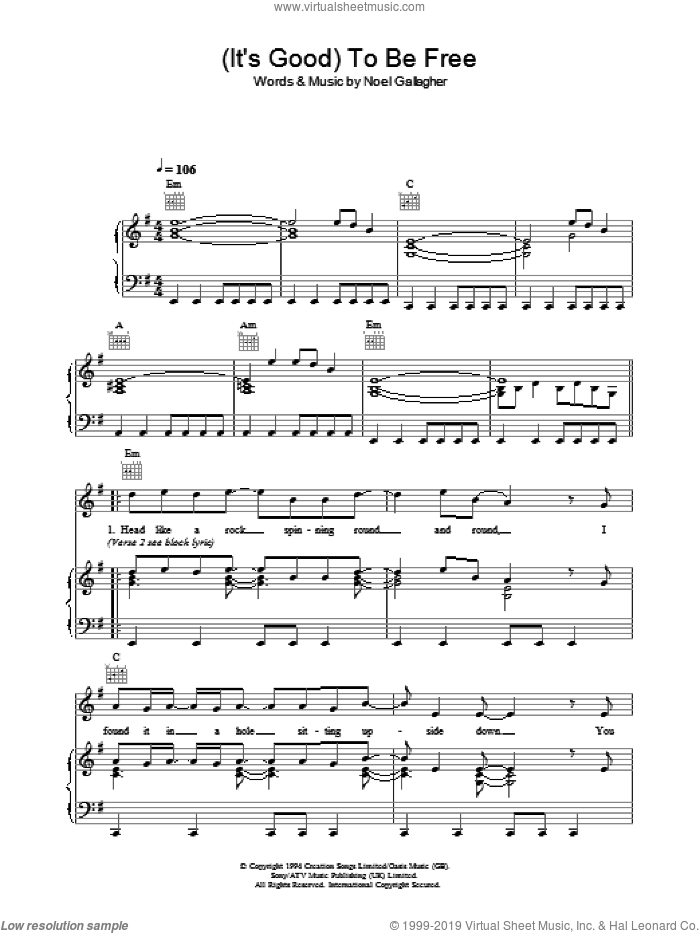 (It's Good) To Be Free sheet music for voice, piano or guitar by Oasis and Noel Gallagher, intermediate