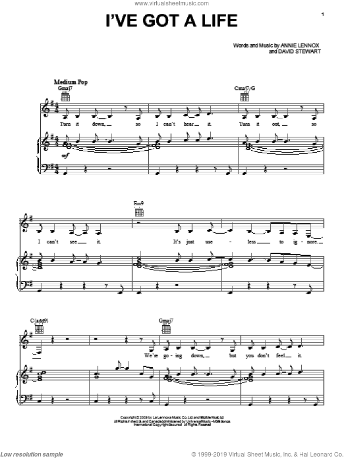 I've Got A Life sheet music for voice, piano or guitar by Dave Stewart