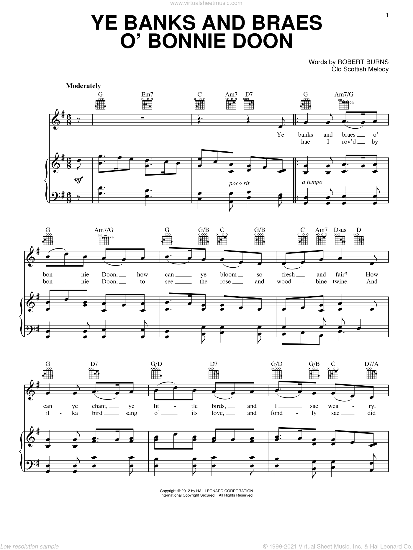 Ye Banks And Braes O' Bonnie Doon sheet music for voice, piano or guitar by Robert Burns. Score Image Preview.