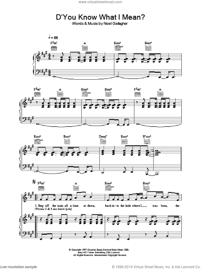 D'You Know What I Mean? sheet music for voice, piano or guitar by Oasis and Noel Gallagher, intermediate. Score Image Preview.