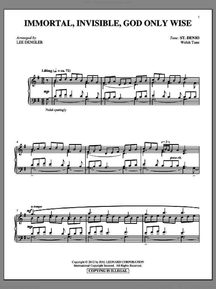 Immortal, Invisible, (intermediate) sheet music for piano solo by Walter Chalmers Smith, Lee Dengler and Miscellaneous, intermediate skill level