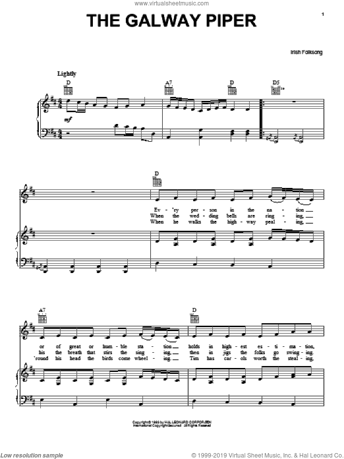The Galway Piper sheet music for voice, piano or guitar, intermediate skill level