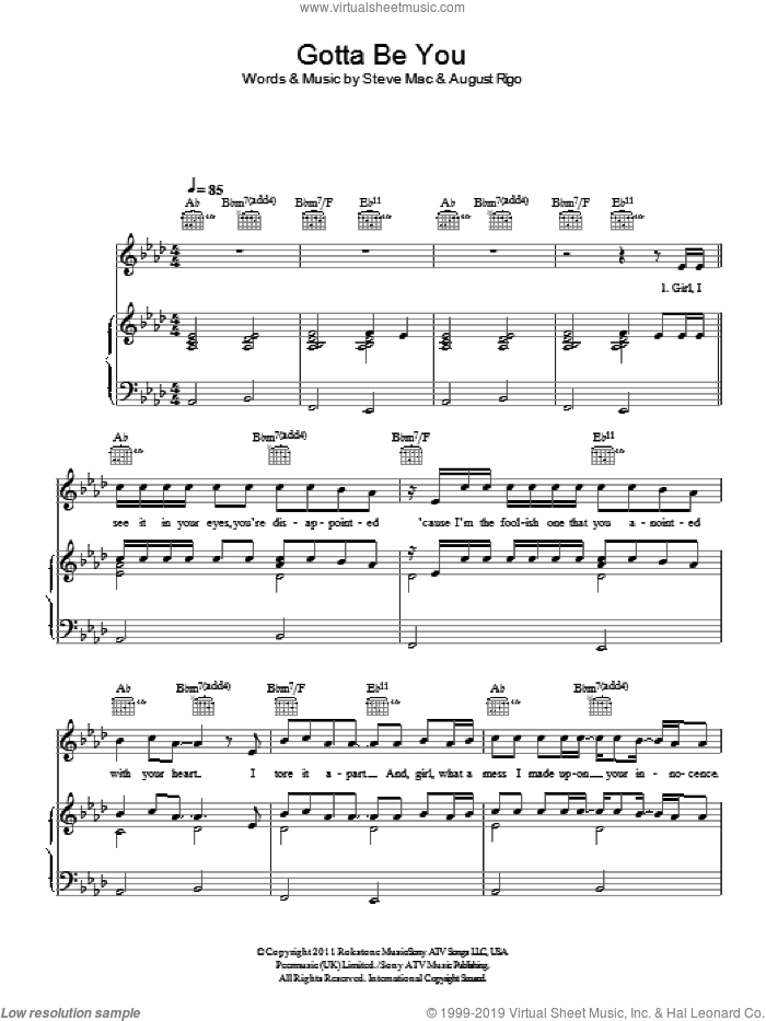 Gotta Be You sheet music for voice, piano or guitar by One Direction, August Rigo and Steve Mac, intermediate skill level
