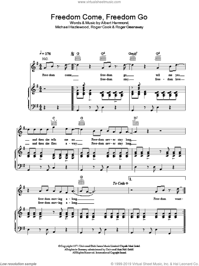 Freedom Come, Freedom Go sheet music for voice, piano or guitar by Roger Greenaway, Albert Hammond, Michael Hazlewood and Roger Cook. Score Image Preview.