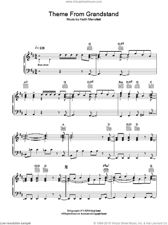 Theme from Grandstand sheet music for piano solo by Keith Mansfield. Score Image Preview.