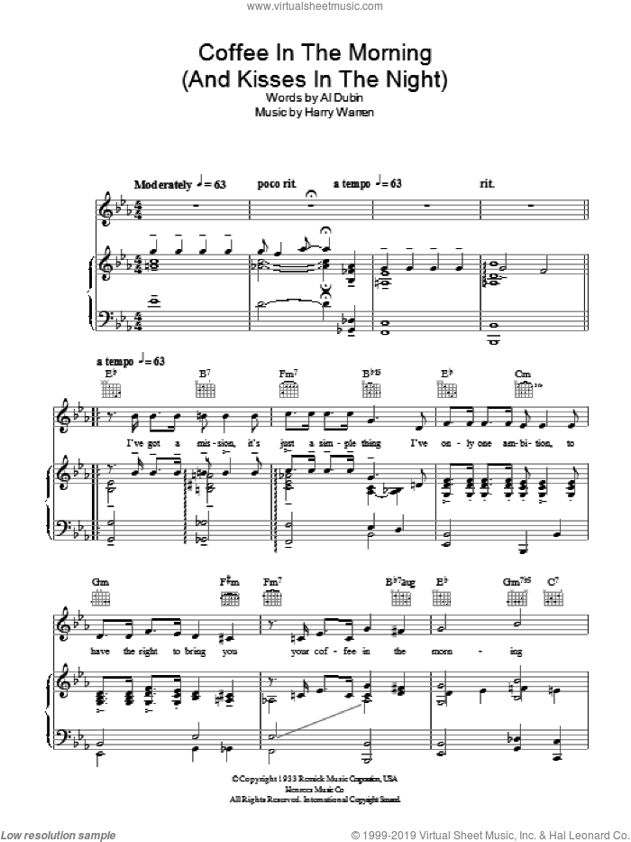 Coffee In The Morning (And Kisses In The Night) sheet music for voice, piano or guitar by Harry Warren, Al Bowlly and Al Dubin, intermediate voice, piano or guitar. Score Image Preview.