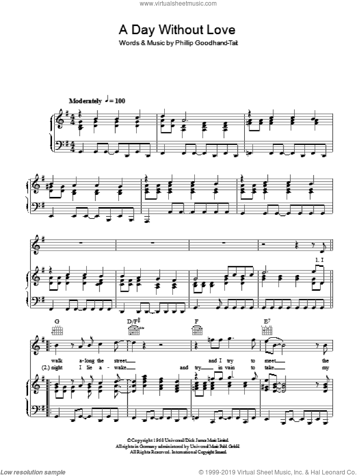 A Day Without Love sheet music for voice, piano or guitar by The Love Affair and Phillip Goodhand-Tait, intermediate