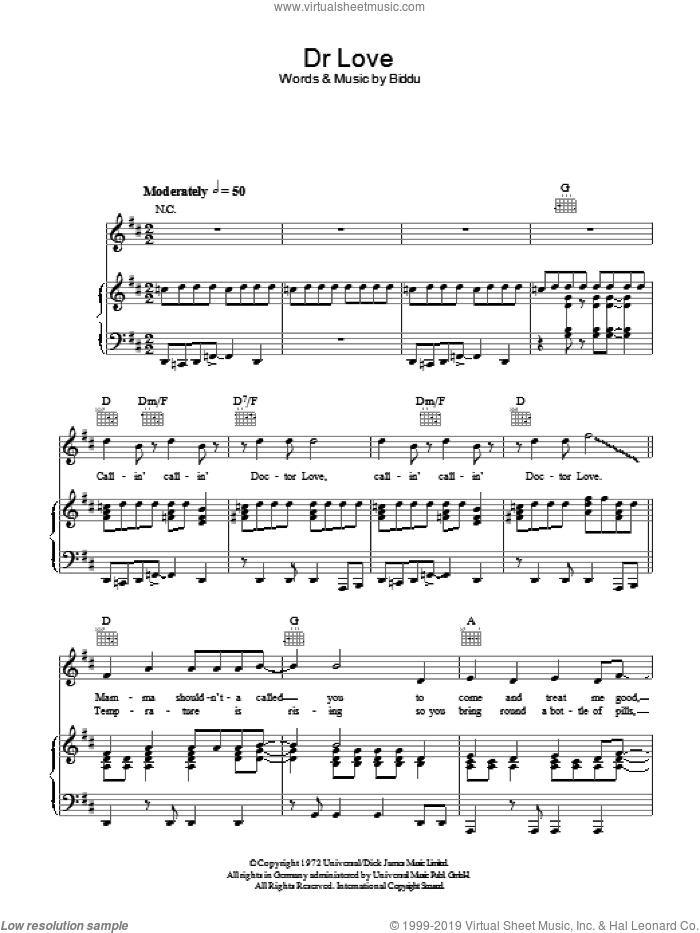 Doctor Love sheet music for voice, piano or guitar by Tina Charles and Biddu, intermediate