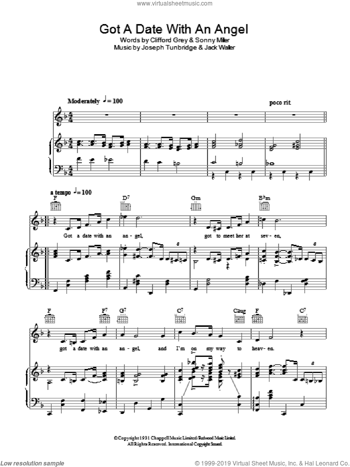 Got A Date With An Angel sheet music for voice, piano or guitar by Sonny Miller and Clifford Grey. Score Image Preview.