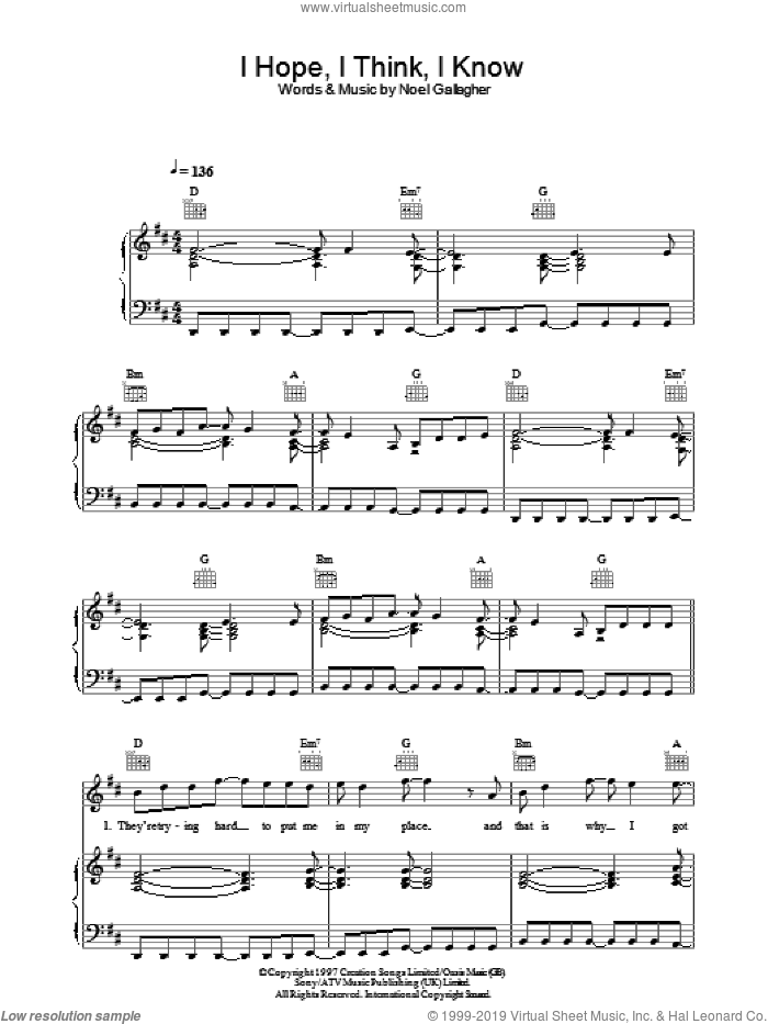 I Hope, I Think, I Know sheet music for voice, piano or guitar by Oasis and Noel Gallagher. Score Image Preview.