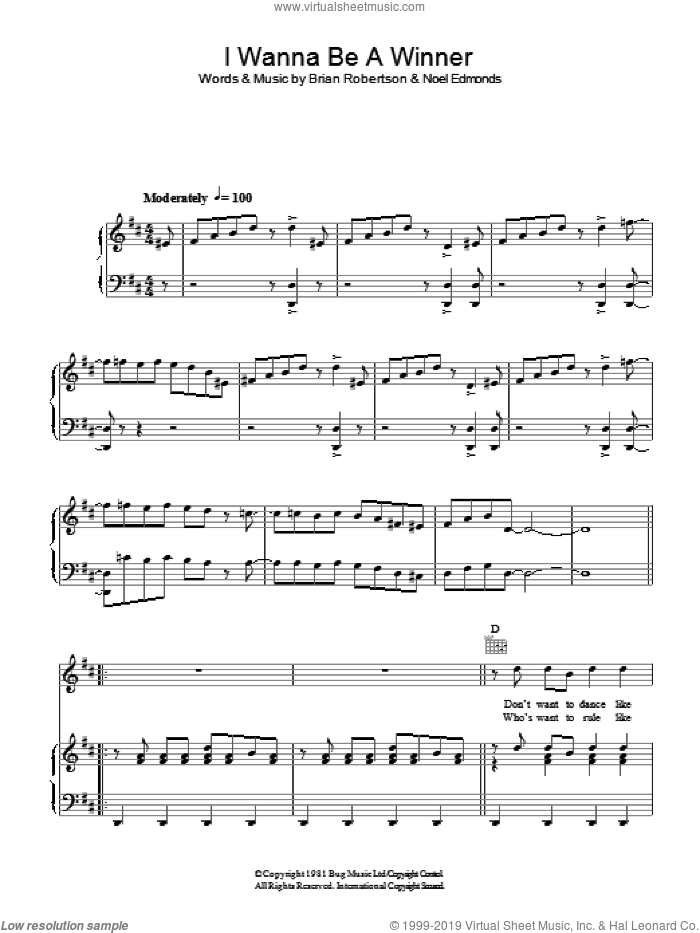 I Wanna Be A Winner sheet music for voice, piano or guitar by Noel Edmonds