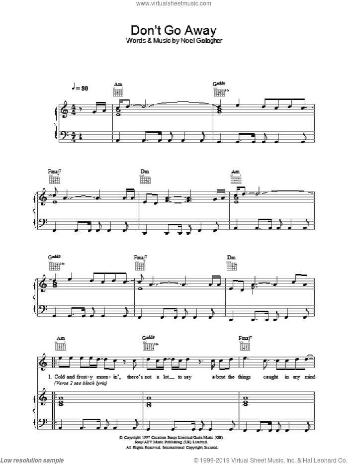 Don't Go Away sheet music for voice, piano or guitar by Noel Gallagher and Oasis. Score Image Preview.