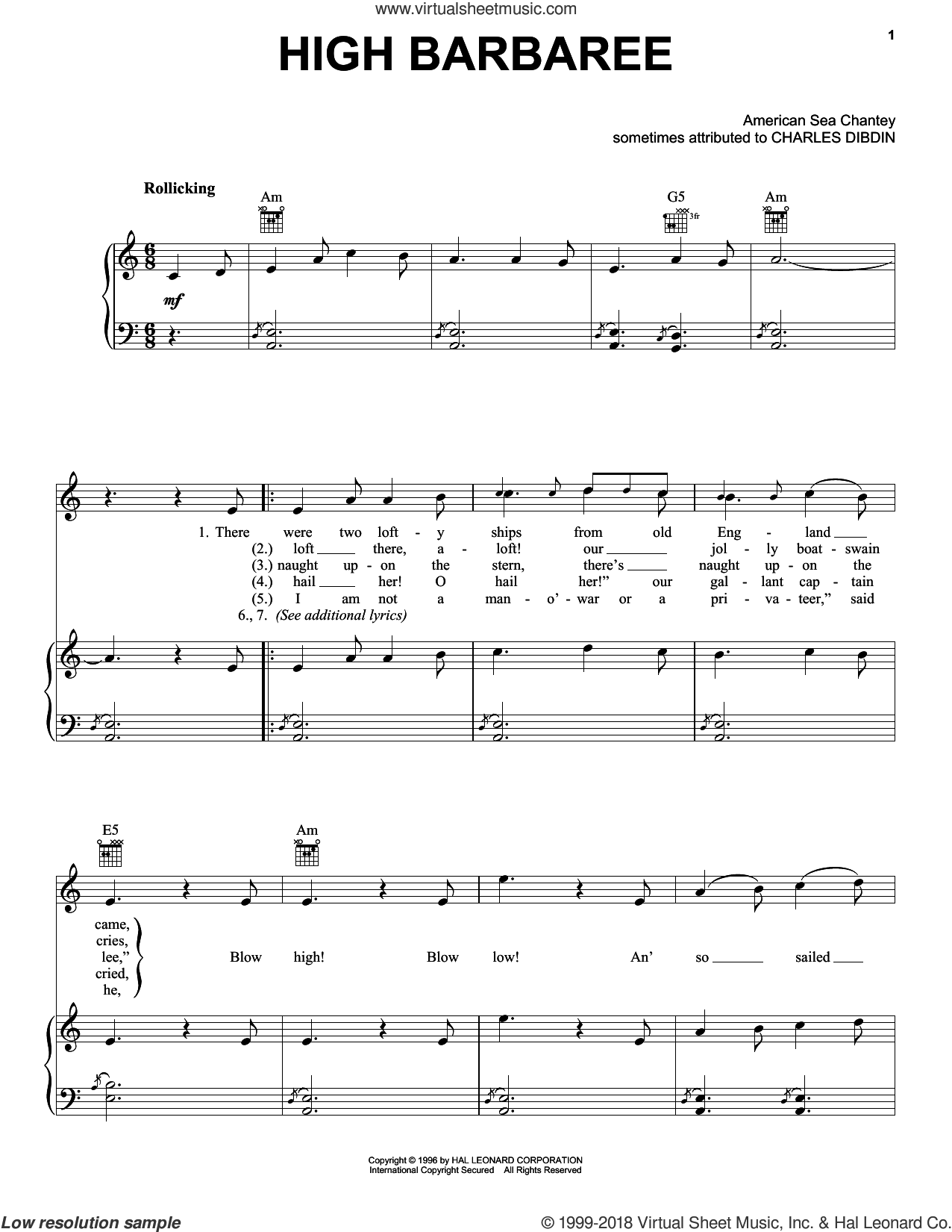 High Barbaree sheet music for voice, piano or guitar by Charles Dibdin, intermediate skill level