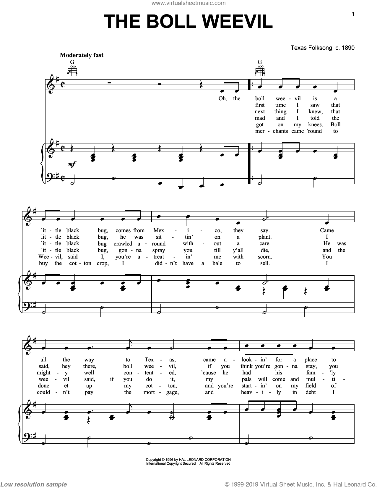 The Boll Weevil sheet music for voice, piano or guitar by Texas Folksong, intermediate skill level