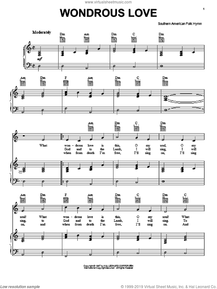 Wondrous Love sheet music for voice, piano or guitar. Score Image Preview.