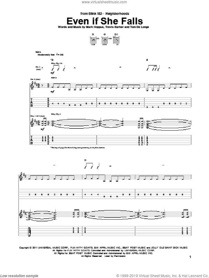 Even If She Falls sheet music for guitar (tablature) by Blink-182, intermediate guitar (tablature). Score Image Preview.