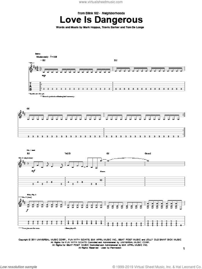 Love Is Dangerous sheet music for guitar (tablature) by Travis Barker