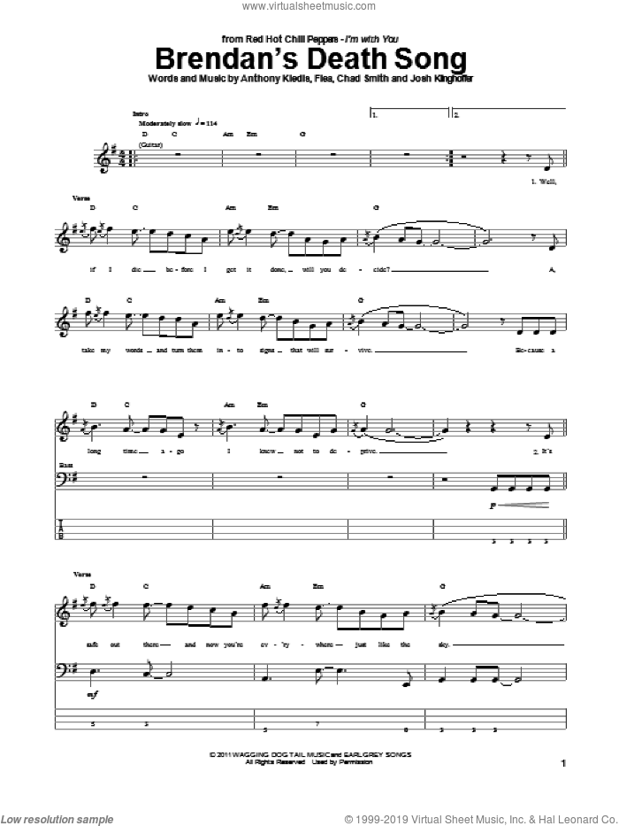 Brendan's Death Song sheet music for bass (tablature) (bass guitar) by Josh Klinghoffer, Red Hot Chili Peppers and Flea