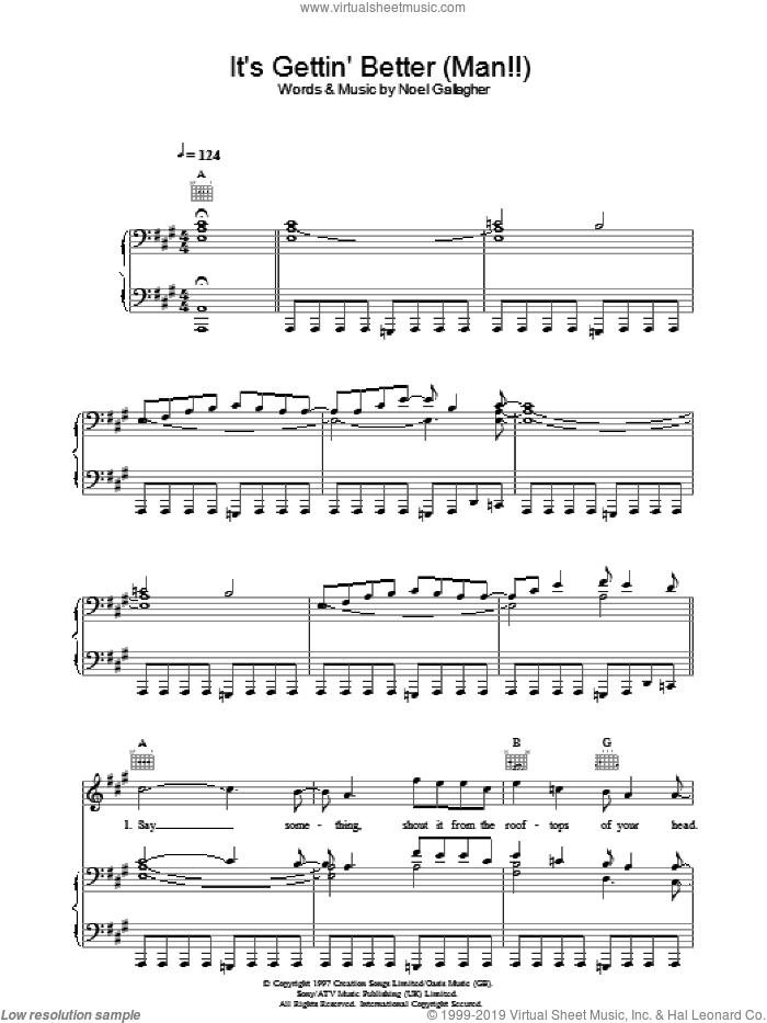 It's Gettin' Better (Man!!) sheet music for voice, piano or guitar by Oasis and Noel Gallagher, intermediate. Score Image Preview.
