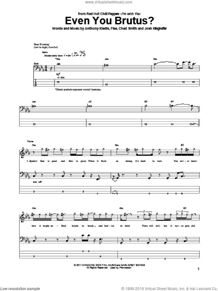 Even You Brutus? sheet music for bass (tablature) (bass guitar) by Josh Klinghoffer, Red Hot Chili Peppers and Flea. Score Image Preview.