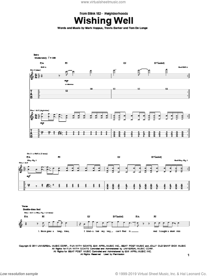 Wishing Well sheet music for guitar (tablature) by Travis Barker, Blink-182, Mark Hoppus and Tom DeLonge. Score Image Preview.